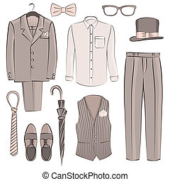 sketch groom clothing - vector illustration