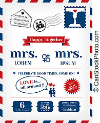 Lesbian Wedding Invitation Template in Postcard and Air mail...