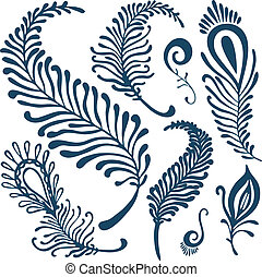 decorative feathers set - vector decorative feathers set