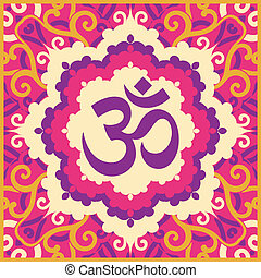 color ohm - vector indian spiritual sign ohm