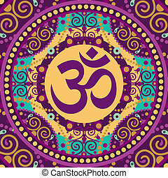 mandala ohm - vector indian spiritual sign ohm