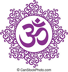 ohm decorative - vector indian spiritual sign ohm