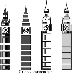 big ben - vector line graphic big ben set
