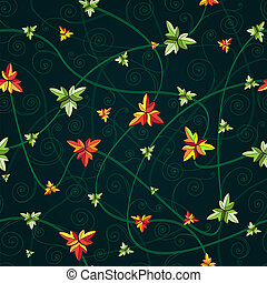 Seamless pattern with clover leaves. Dark background.