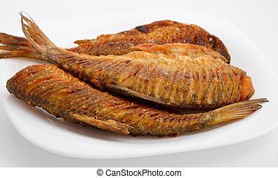 frito, río, pez, corte, espalda