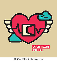 Open Heart and Mind Freedom Concept Illustration - Open...
