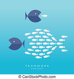 Big Fish Small Fish Teamwork Concept - Teamwork Concept...