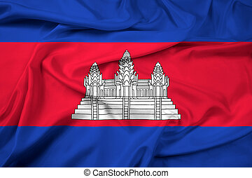 Waving Cambodia Flag