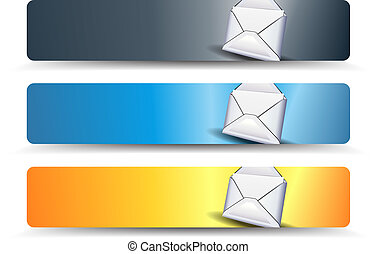 email web banners in three different colors