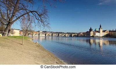 View on Prague architecture - View from Strelecky island on...