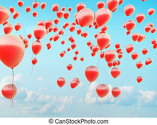 Hundreds of the red flying balloons - Hundreds of the small...
