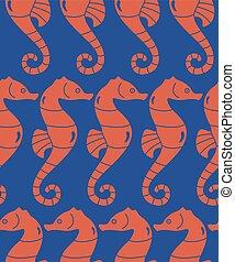 sea horses - vector abstract seamless decorative ocean...