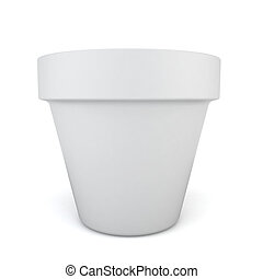 Flower pot. 3d illustration on white background
