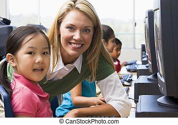 nauczyciel, porcja, Przedszkole, dzieci, uczyć się, jak,...