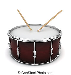 Bass drum 3d illustration on white background