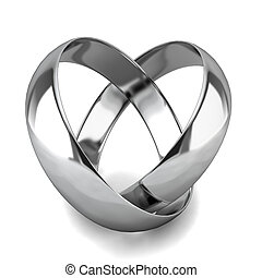 Two wedding rings 3d illustration on white background