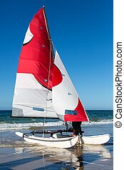 Catamaran Sailing Boat - Catamaran sailing vessel with a...