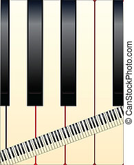 Large and Small Keys - Black and white piano keys with a...