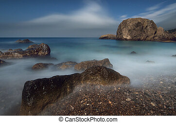 Moonlit Night on the Sea - Sea landscape with rocks and...