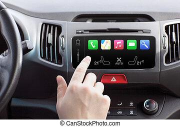 homem, sentando, car, toque, jogo, dedo, Automático,...