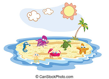 set of sea animal with beach