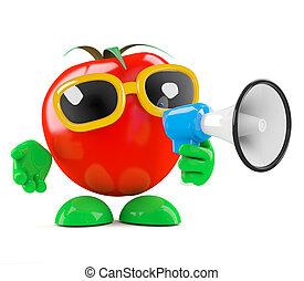 3d Tomato announcement - 3d render of a tomato speaking...