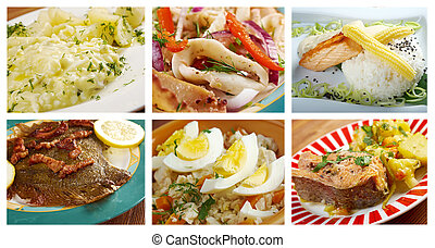 Food set of different  seafoods. collage