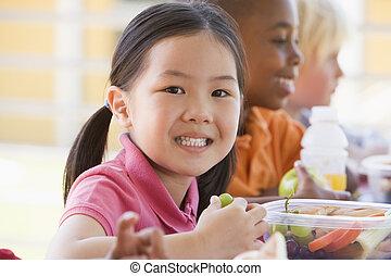 jardim infância, crianças, comer, almoço