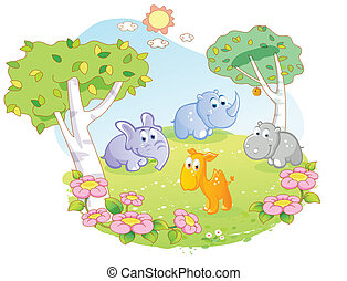 young animals cartoon at the flower