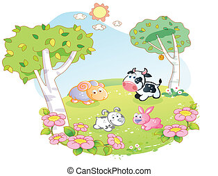 farm animals at the flower garden