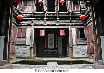 Fine carpentry of a traditional chinese house in Anhui...