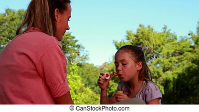 Little girl blowing bubbles at her