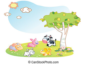 farm animals cartoon with garden