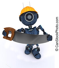 android builder with a saw - 3D Render of an android Builder...