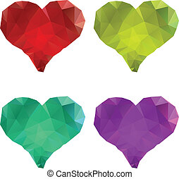 Polygonal Hearts Set - Set of colorful crystallized hearts...