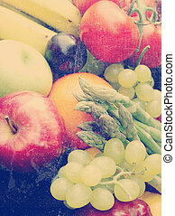 Vintage fruit and vegetables - Various fruit and vegetables...
