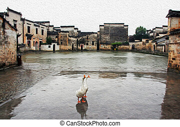 Photo of two geese stand in front of the famous moon pond in...