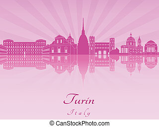Turin skyline in purple radiant orchid in editable vector...