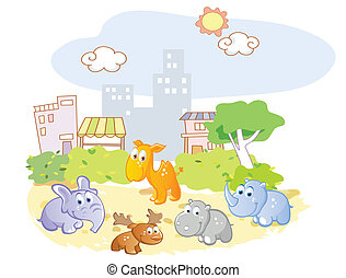young animals playing in the park