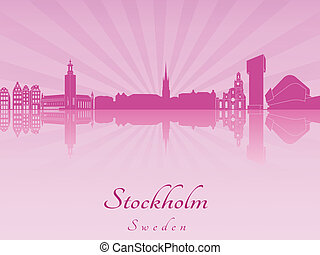 Stockholm skyline in purple radiant orchid in editable...