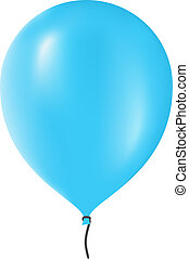 Blue Balloon - Blue balloon isolated on white background,...