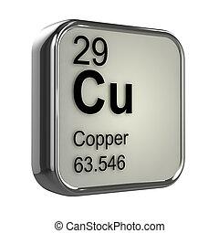 3D, cobre, elemento