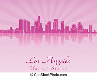 Los Angeles skyline in purple radiant orchid