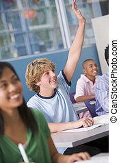 escola, crianças, alto, escola, classe