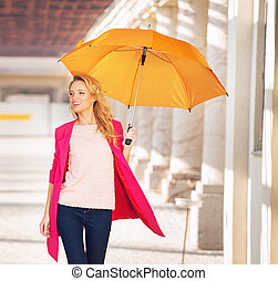 Smiling smart woman with the umbrella - Smiling smart lady...