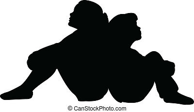 friends together silhouette vector