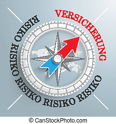 Compass Risiko Versicherung - White compass on the grey...