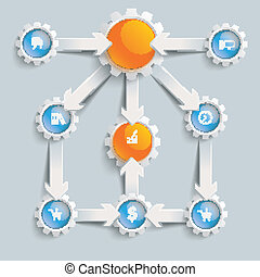 Paper Arrows Gears Blue Orange Flowchart Success - White...