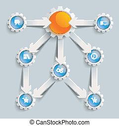 Paper Arrows Gears Blue Orange Flowchart