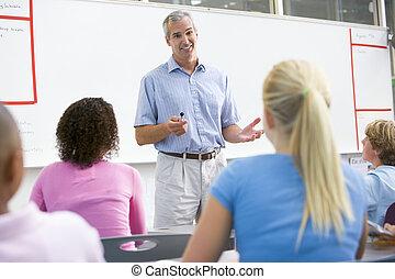 escuela, clase, alto, profesor, Habla, niños